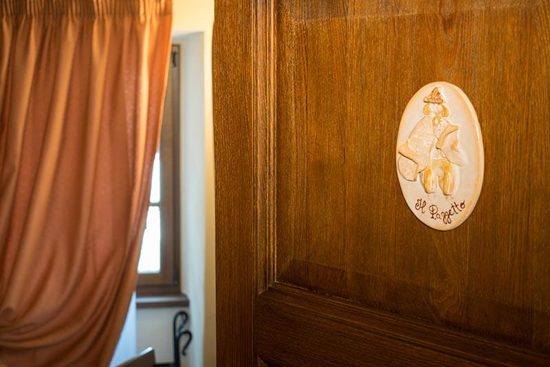 Targa realizzata a mano della camera Il Paggetto di Ca' del Grano