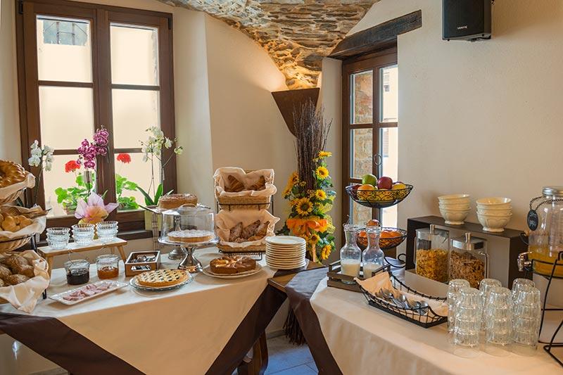 Buffet for breakfast of the widespread hotel Ca' del Grano Parma
